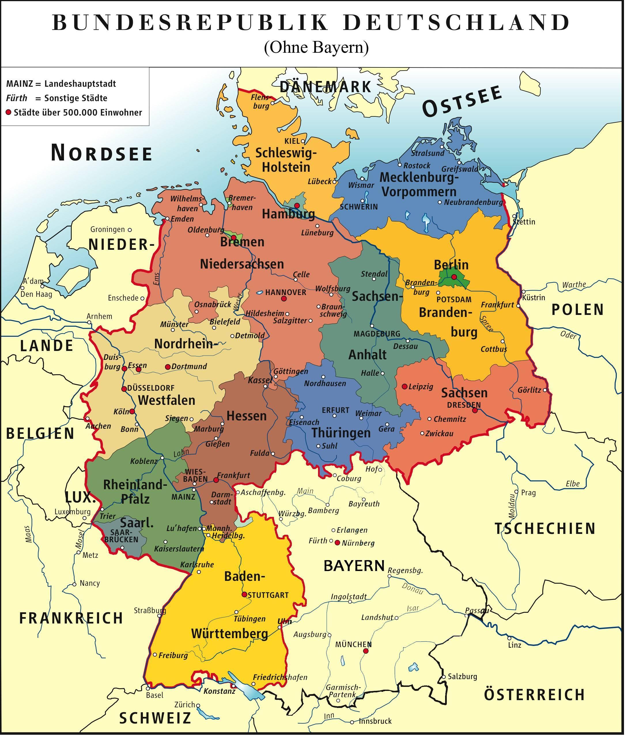 El Bayern Mapa De Alemania El Bayern De Munich Mapa Baviera