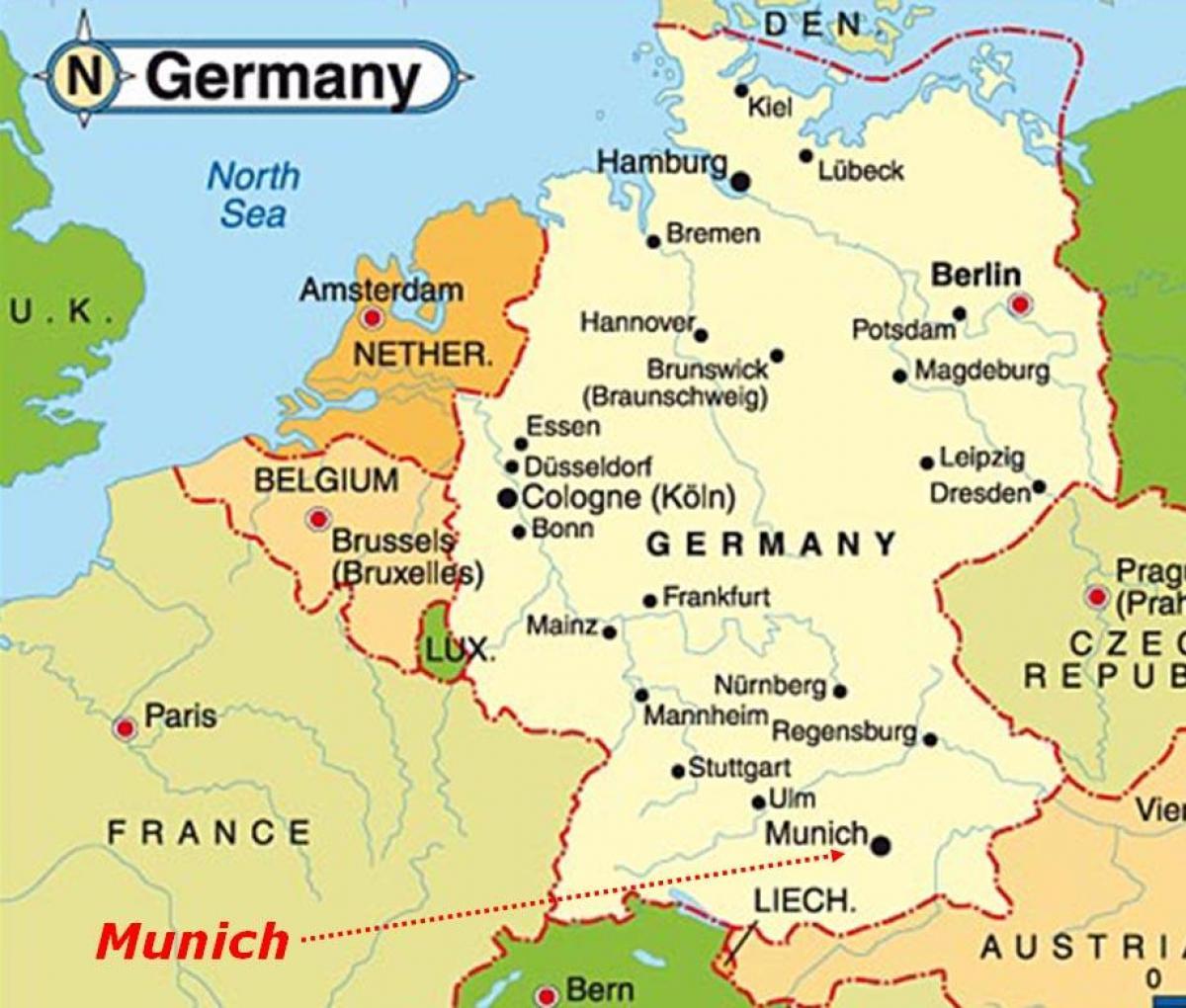 Munich Mapa De Europa Mapa De Munich Europa Baviera Alemania